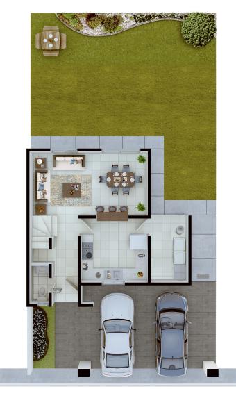 Casas en Saltillo, Coahuila - Residencial Sorrento - Modelo Niza - Planta Baja