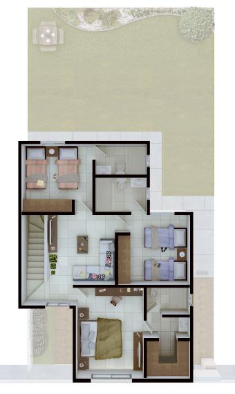 Casas en Saltillo, Coahuila - Residencial Sorrento - Modelo Niza - Planta Alta